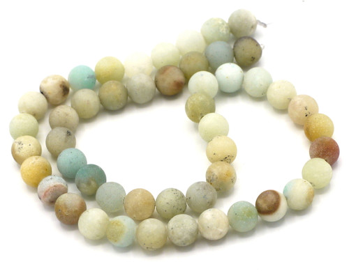 "15"" Strand 8mm Multicolor Amazonite Round Beads, Matte Finish"