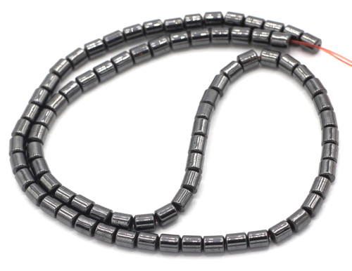 "16"" Strand 4x5mm Man-Made Hematite Barrel Beads"