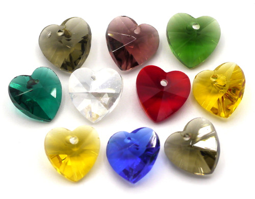 10pc 10mm Cut Glass Crystal Heart Drops, Mixed Colors