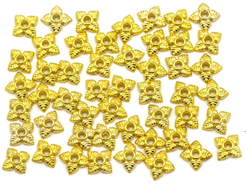 50pc 6mm Leaf Bead Cap, Bright Gold