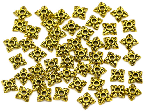 50pc 6mm Leaf Bead Cap, Antique Gold