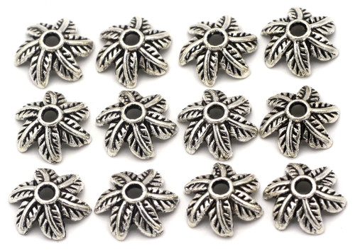 12pc 10x11mm Swirled Leaf Bead Cap, Antique Silver