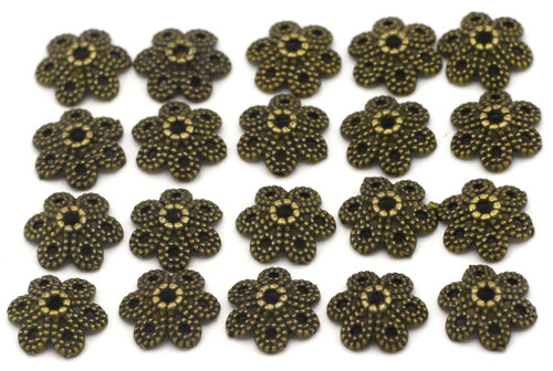 20pc 11mm 6-Petal Dotted Bead Cap, Antique Bronze