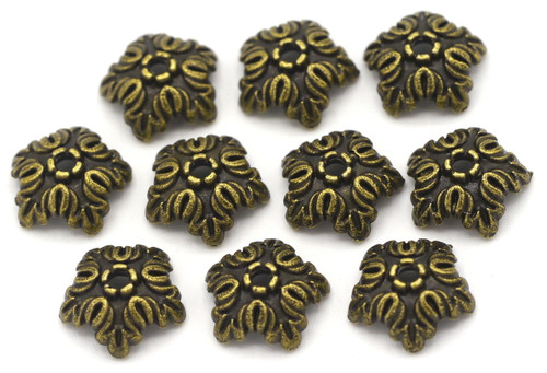 10pc 10mm 5-Petal Ornate Bead Cap, Antique Bronze