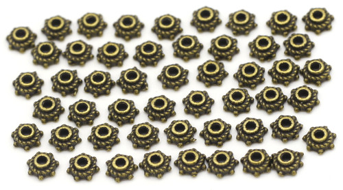 50pc 5mm Dotted Bead Cap, Antique Bronze
