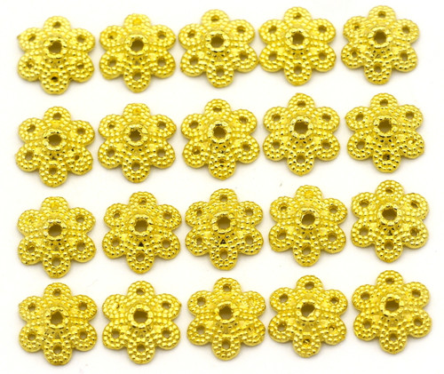 20pc 11mm 6-Petal Dotted Bead Cap, Bright Gold