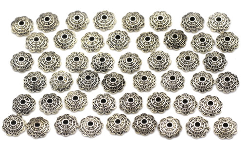 50pc 6.5mm Scalloped Bead Cap, Antique Silver