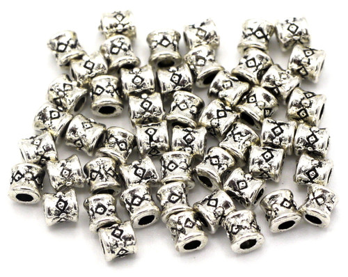 50pc 3.8mm Tribal-Style Detailed Barrel Spacer Beads, Antique Silver