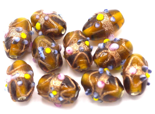 10pc Approx 8x12mm Indian Lampwork Beads, Dark Topaz