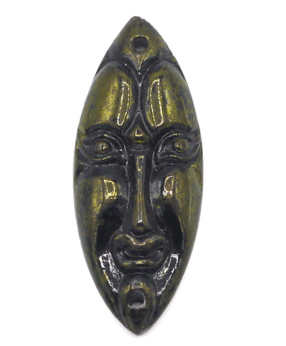 34x13mm Czech Glass 2-Hole Mask, Black with Picasso Green