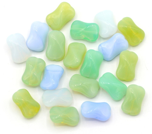 20pc 10x15mm Czech Glass Twisted Rectangle Beads, Spring Mix