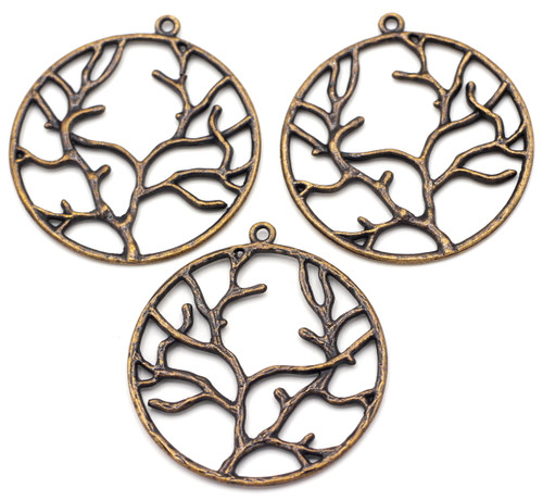 3pc 43x40mm Branch Pendants, Antique Copper Finish