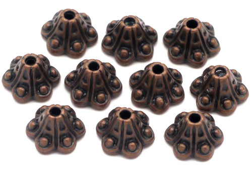 10pc 8mm Fancy Bead Cap, Antique Copper