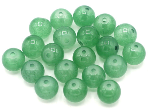 20pc 8mm Round Glass Beads, Green Jade Finish