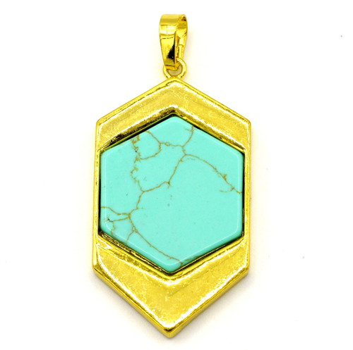 44mm Brass & Synthetic Turquoise Hexagon Pendant, Gold Finish