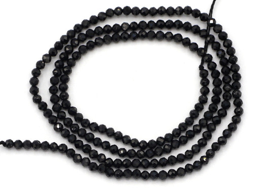 """15"""" Strand 2mm Faceted Black Spinel Round Gemstone Beads"""