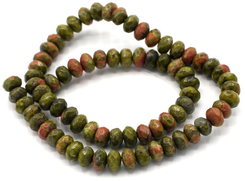 "15"" Strand 8x5mm Faceted Unakite Rondelle Beads"