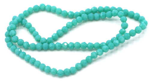 Approx 100pc 4mm Faceted Round Crystal Beads, Deep Turquoise Blue