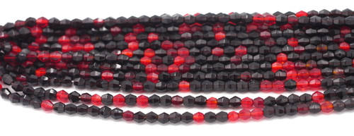 100pc 4mm Czech Fire Polished Bicone Beads, Ruby & Garnet Mix