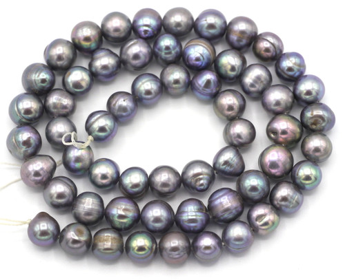 "SAVE 80%-- 15"" Strand Approx 8mm Freshwater Pearl Irregular Semi-Round Beads, Silver"