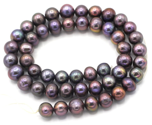 "SAVE 80%-- 15"" Strand Approx 8mm Freshwater Pearl Semi-Round Beads, Copper Lilac"