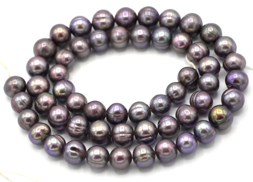 "SAVE 80%-- 15"" Strand Approx 8mm Freshwater Pearl Banded Semi-Round Beads, Lilac Peacock"