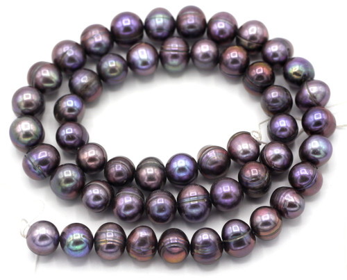 "SAVE 80%-- 15"" Strand Approx 8-9mm Freshwater Pearl Banded Semi-Round Beads, Deep Purple"