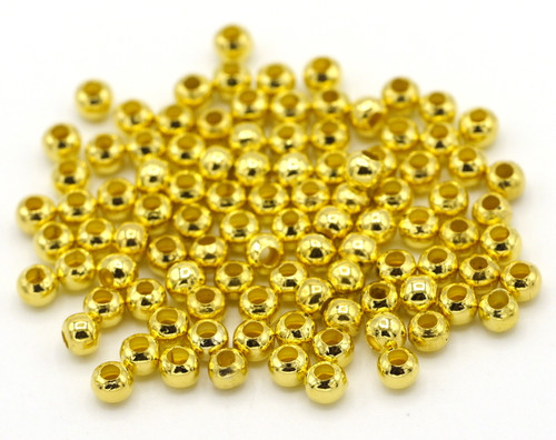 SPECIAL VALUE-- 100pc 3.2mm Steel Spacer Beads, Golden