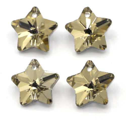 4pc 13mm Foil-Backed Cut Glass Crystal Star Drop, Golden Shadow