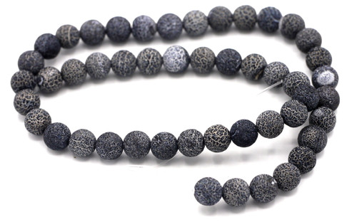 "15"" Strand 8mm Frosted Crackle Agate Round Beads, Jet Black"