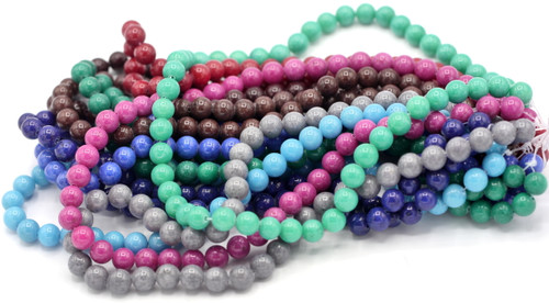 "RANDOM PICK-- 15"" Strand 8mm Mountain Jade Round Beads, Mixed Colors"