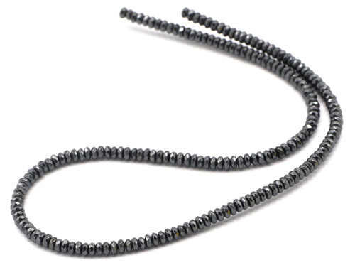 "15"" Strand 4x2mm Faceted Synthetic Hematite Rondelle Beads"