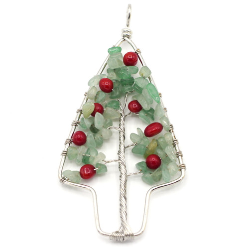 Approx 90mm Aventurine & Jasper Christmas Tree Pendant