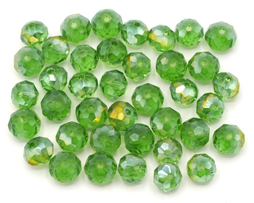 40pc 8x6mm Crystal Rondelle Beads, Green AB