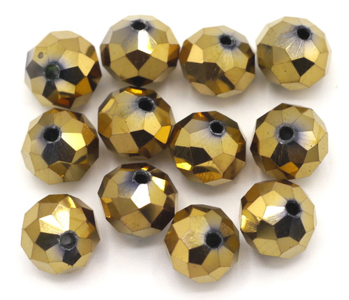 12pc 10x8mm Crystal Rondelle Beads, Metallic Bronze
