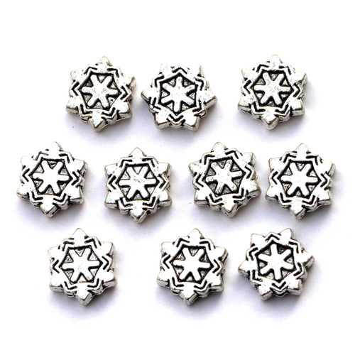 10pc 8.5x9.5mm Snowflake Beads, Antique Silver