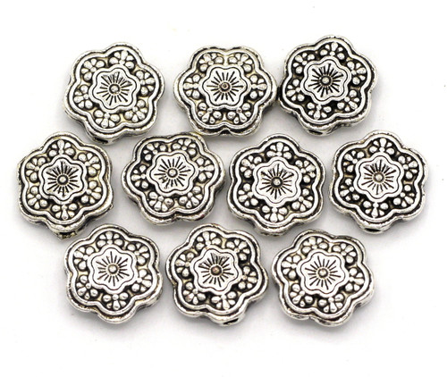 10pc 10mm Snowflake Beads, Antique Silver