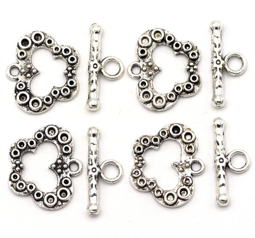4 Sets 16.5x19.5mm Butterfly Toggle Clasps, Antique Silver Finish
