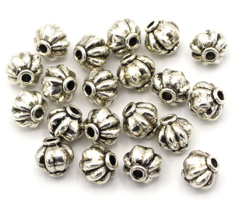 20pc 8.5x8mm Fluted Bicone Beads, Antique Silver Finish