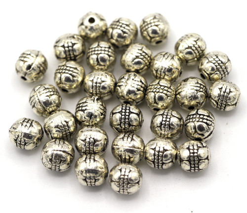 30pc 6mm Barrel Beads, Antique Silver Finish