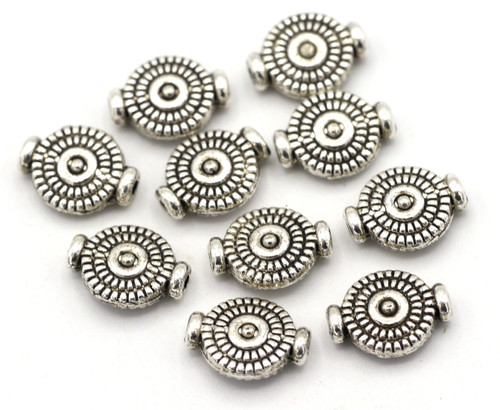 10pc 10x7.5mm Detailed Flat Round Beads, Antique Silver Finish