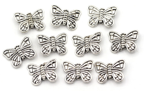 10pc 11x15mm Butterfly Beads, Antique Silver Finish