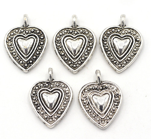 5pc 19.5x14mm Heart Drops, Antique Silver Finish