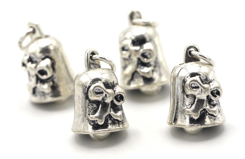 4pc 16x9mm Bell Charms, Antique Silver Finish