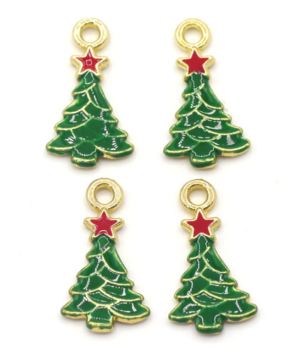 4pc 20.5mm Enameled Christmas Tree Charms, Antique Gold Finish