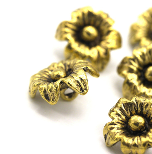 10pc 14x12mm Flower Drops, Antique Gold Finish