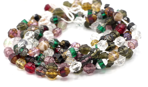 25pc 8x10mm Faceted Czech Cathedral Turbine Beads, Elegant Mix