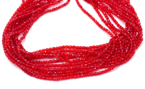 100pc 3mm Czech Fire Polished Faceted Round Beads, Transparent Ruby