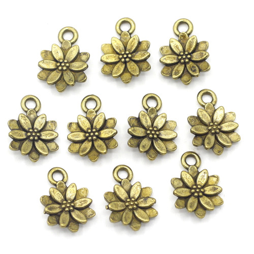 10pc 14x10mm Poinsettia Charms, Antique Brass Finish