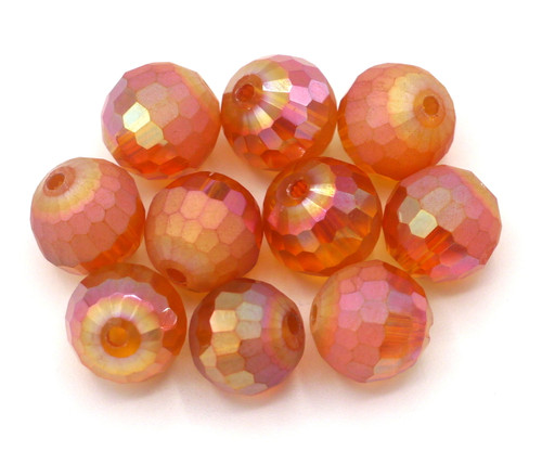 10pc 10mm Crystal Half-Matte Faceted Round Beads, Magma AB